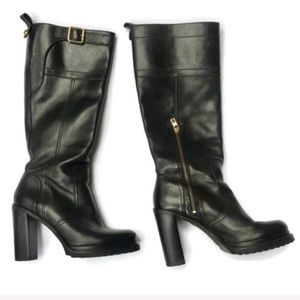 Tory Burch Black Leather Square Heel Boots Size 9M